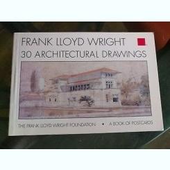 30 ARCHITECTURAL DRAWINGS - FRANK LLOYD WRIGHT  (CARTE CU 30 CARTI POSTALE)