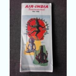 AIR INDIA INTERNATIONAL, MAI 1958, PROGRAMUL ZBORURILOR INTERNATIONALE ALE COMPANIEI AIR INDIA