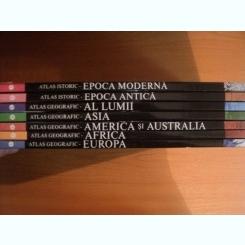 ATLAS GEOGRAFIC , VOL. I - VII ( EUROPA , AFRICA , AMERICA SI AUSTRALIA , ASIA , AL LUMII) , ATLAS ISTORIC (EPOCA ANTICA , EPOCA MODERNA ) , BUCURESTI