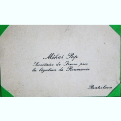 CARTE DE VIZITA  MIHAI POP, SECRETAR DE PRESA PENTRU LEGATIA ROMANA
