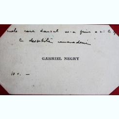 CARTE DE VIZITA GABRIEL NEGRY, CU MESAJ SCRIS