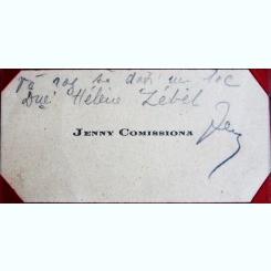 CARTE DE VIZITA JENNY COMISSIONA, CU MESAJ SI SEMNATURA