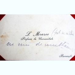 CARTE DE VIZITA L. MRAZEC, PROFESOR UNIVERSITAR, CU MESAJ DE MULTUMIRE
