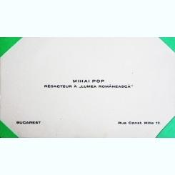 CARTE DE VIZITA MIHAI POP, REDACTOR LA PUBLICATIA LUMEA ROMANEASCA
