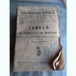 JURISPRUDENTA GENERALA PE ANUL 1939  (40 NUMERE+TABELA ALFABETICA DE MATERII)
