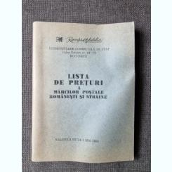 LISTA DE PRETURI A MARCILOR POSTALE ROMANESTI SI STRAINE VALABILA DE LA 1 MAI 1980