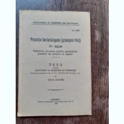 PREZENTA BACTERIOFAGULUI IN APE - ION D. COCIOBA  (TEZA DE DOCTORAT, CU DEDICATIE)