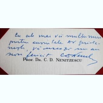 CARTE DE VIZITA A PROFESORULUI DR. C.D. NENITZESCU, CU MESAJ DE MULTUMIRE