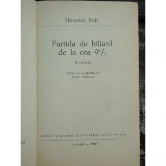 PARTIDA DE BILIARD DE LA ORA 91/2 - HEINRICH BOLL